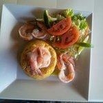 Mofongo with white shrimps.