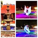 Courtyard Fountain and Folk Dancers