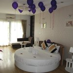 The bridal suite, complete with birthday balloons