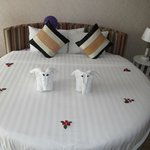 Our bed and elephant towels :)