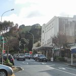Devonport high street, with Mount Victoria in background