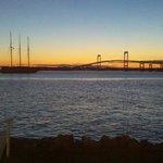 Sunset view of Newport Bridge from Pineapple's outdoor bar/restaurant..
