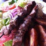 Pork souvlaki plate. Very delicious!