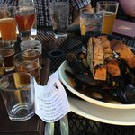 Flight of IPA's and PEI mussels