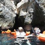 Snorkel exploring near a cave, St. Lucia Joe Knows