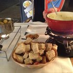 Delicious herb and cheese fondue! Ask to split the fondue for a much cheaper price!