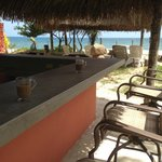 Great Honduras coffee at the beach side Tiki Bar