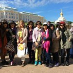 With guide Alissa in Peterhof Gardens in St Petersburg