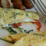 Veggie & goat cheese omelet