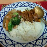 Coconut rice, panang curry beef, and vegetable pad.