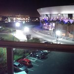 Night view outside King Suite balcony of Stockton Arena