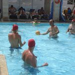 Water polo in the beach pool