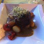 Pavé de bœuf, sauce foie gras. Une cuisson parfaite!
