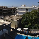 Here was the view from our small balcony. Rooms at the back of the hotel overlook the pool, but