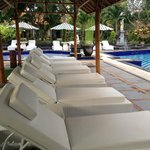 Lounging chairs by the poolside