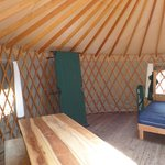 Two cots were set up in the yurt and 2 more you can set up