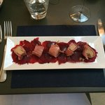 beetroot carpaccio with ham-wrapped fois gras