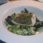 seafood risotto with hake fillet and rock samphire