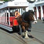 Douglas Horse Drawn Tram passing wagon sheds