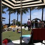 Crowded pool cabana area