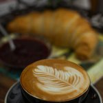 Award winning organic fair trade Fish River Roasters coffee & butter croissant