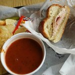 Soup and sandwich lunch