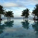 infinity pool next to beach