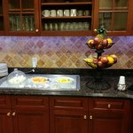 Fresh fruit, cut up fruit, yogurt, and boiled eggs.