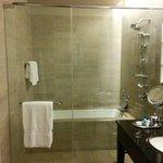 Shower and bath tub area.
