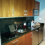 Kitchen near room entrance.
