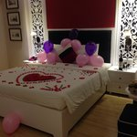 All the beautiful flower decorations on the bed that the hotel organised for our anniversary