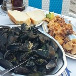 Calamari & mussels with bread sauce