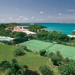 Tennis courts with an ocean view