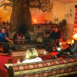 The cosy fire in the dining room lounge