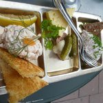 taste of 3--shrimp, pate, reindeer (also could have herring/salmon with cheese