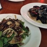 PEI Mussels in a cream sauce, Warm salad of Shiitake, Portabello and Oyster