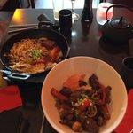 Steak Donburi & Seafood Udon noodles