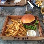 Lamb burger & chips