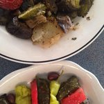Roasted veggies and grape leaves :-)
