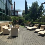 Outdoor seating area at front of building