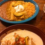 chicken enchiladas & crabmeat chimichanga