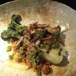 Mushroom ragu, salsa verde and compressed pak choi
