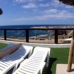 View from the sun loungers over to the beach