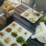 Trio Hummus and Chef's Sampler