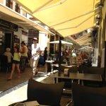 Busy street full of restaurants