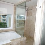 Our spectacular glass shower/tub overlooking the entire resort...