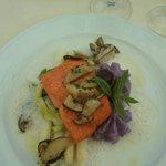 Wild salmon with canadian mushroom on white aspargus