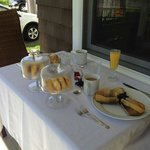 Breakfast on the front porch!  Fresh homemade corn cakes (even made mine special to be gluten f