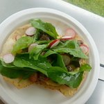 Rare beef tostada: seared highlander beef, caper aioli, rocket & radish tossed in lime/olive oil