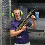 Alex after shooting a Scar heavy machine gun